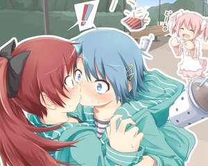 Rating: Questionable Score: 108 Tags: blue_eyes blue_hair blush kaname_madoka kiss long_hair mahou_shoujo_madoka_magica miki_sayaka pink_hair red_eyes red_hair sakura_kyouko short_hair tatsuno_ryou yuri User: Wiresetc
