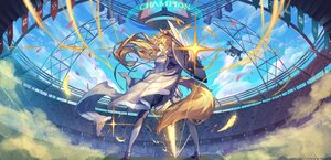 Rating: Safe Score: 18 Tags: arknights armor blemishine_(arknights) blonde_hair clouds long_hair pixerite ponytail sky tail yellow_eyes User: Nepcoheart