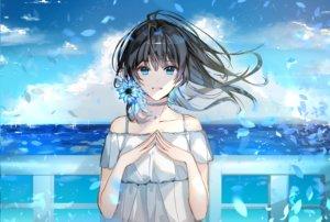 Rating: Safe Score: 63 Tags: aqua_eyes black_hair choker clouds dress flowers long_hair naru_(ul) original petals polychromatic sky summer_dress waifu2x water User: otaku_emmy