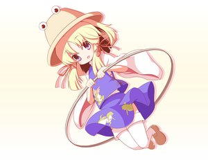 Rating: Safe Score: 16 Tags: blonde_hair hat machily moriya_suwako purple_hair ribbons skirt thighhighs touhou User: HawthorneKitty