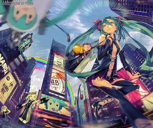 Rating: Safe Score: 98 Tags: blonde_hair building city el-zheng green_eyes green_hair hatsune_miku kagamine_len kagamine_rin long_hair male navel rainbow short_hair skirt takoluka thighhighs twintails vocaloid watermark User: RyuZU