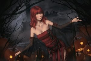 Rating: Safe Score: 27 Tags: breasts cleavage green_eyes halloween miura_naoko nier popol pumpkin realistic red_hair see_through User: SciFi