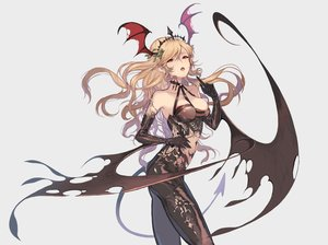Rating: Safe Score: 93 Tags: blonde_hair breasts cleavage demon elbow_gloves gloves laurelfalcon long_hair orange_eyes original pointed_ears succubus tail wings User: FormX