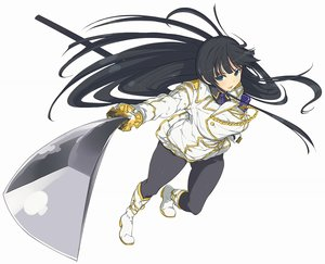Rating: Safe Score: 46 Tags: black_hair blue_eyes boots breasts ikaruga_(senran_kagura) katana long_hair military pantyhose senran_kagura sword tagme_(artist) tie uniform weapon white User: BattlequeenYume