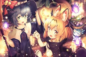 Rating: Safe Score: 92 Tags: animal_ears animal_ears_(artist) anthropomorphism bell black_hair blonde_hair bow catgirl fang green_eyes halloween hat kaban kemono_friends lucky_beast_(kemono_friends) pumpkin serval short_hair staff tail witch_hat yellow_eyes User: BattlequeenYume