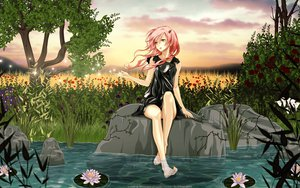 Rating: Safe Score: 198 Tags: barefoot dress flowers grass guilty_crown pink_eyes pink_hair sky tree vector water yuzuriha_inori User: gnarf1975