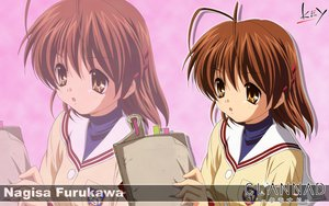 Rating: Safe Score: 6 Tags: brown_eyes brown_hair clannad furukawa_nagisa key logo seifuku short_hair zoom_layer User: Oyashiro-sama