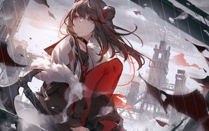Rating: Safe Score: 56 Tags: animal_ears arknights black_hair blue_eyes building city collar emurina long_hair signed weapon zima_(arknights) User: RyuZU