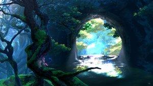 Rating: Safe Score: 101 Tags: animal_ears domco forest landscape long_hair original scenic signed tail tree water white_hair User: BattlequeenYume