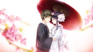 Rating: Safe Score: 30 Tags: black_hair cherry_blossoms ensemble_(company) flowers game_cg japanese_clothes kimono koi_wa_sotto_saku_hana_no_you_ni male sumeragi_rei tagme_(artist) toudou_nazuna umbrella wedding wedding_attire User: FormX