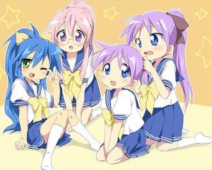 Rating: Safe Score: 31 Tags: hiiragi_kagami hiiragi_tsukasa izumi_konata lucky_star maruki_(punchiki) school_uniform takara_miyuki User: Xtea
