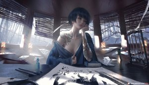 Rating: Questionable Score: 47 Tags: black_hair book breasts cleavage ghostblade jade_(wlop) japanese_clothes logo no_bra paper realistic short_hair tattoo watermark wlop User: BattlequeenYume