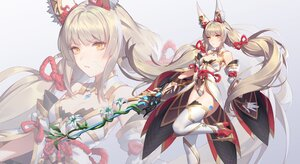 Rating: Safe Score: 60 Tags: animal_ears flowers gloves gray_hair long_hair niyah_(xenoblade) q18607 sword thighhighs twintails weapon xenoblade yellow_eyes zoom_layer User: BattlequeenYume