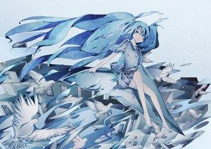 Rating: Safe Score: 113 Tags: animal barefoot bird blue blue_eyes blue_hair building hatsune_miku monochrome vocaloid zoltruke User: FormX