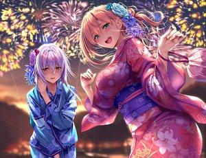 Rating: Safe Score: 147 Tags: 2girls aqua_eyes blush breasts fireworks flowers japanese_clothes orange_eyes orange_hair original piromizu purple_hair sky summer yukata User: Dreista