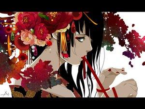 Rating: Safe Score: 171 Tags: black_eyes black_hair flowers japanese_clothes kimono nanahara_shie original User: FormX