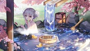 Rating: Safe Score: 119 Tags: blush bronya_zaychik cherry_blossoms flowers gray_eyes gray_hair honkai_impact nude onsen petals rubber_duck tagme_(artist) towel water waterfall User: BattlequeenYume