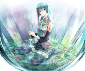 Rating: Safe Score: 90 Tags: flowers hatsune_miku sakumochi vocaloid water User: HawthorneKitty
