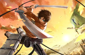 Rating: Safe Score: 60 Tags: aqua_eyes eren_jaeger shingeki_no_kyojin shirano sword weapon User: FormX