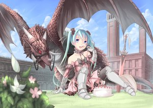 Rating: Safe Score: 169 Tags: armor cake dragon elbow_gloves food hatsune_miku long_hair saraki sword thighhighs twintails vocaloid weapon User: SciFi
