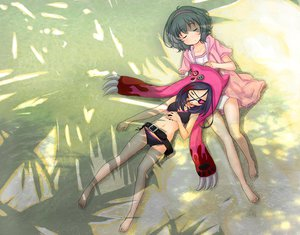 Rating: Safe Score: 105 Tags: abe_kanari barefoot beach bikini eyepatch hayasaka_mirei idolmaster_cinderella_girls narumiya_yume panties sleeping swimsuit underwear User: opai