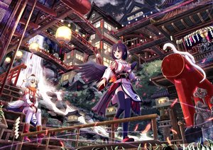Rating: Safe Score: 140 Tags: animal animal_ears black_hair boots building inubashiri_momiji japanese_clothes red_eyes shameimaru_aya tail thighhighs touhou water waterfall white_hair windfeathers wings wolfgirl User: FormX