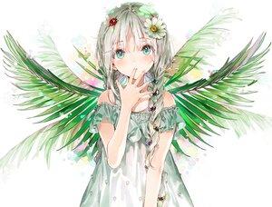 Rating: Safe Score: 101 Tags: aliasing aqua_eyes braids dress dsmile flowers gray_hair leaves long_hair original twintails wings User: mattiasc02