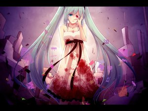 Rating: Safe Score: 97 Tags: bicolored_eyes blood dress hatsune_miku izayoi_kura tears vocaloid User: FormX