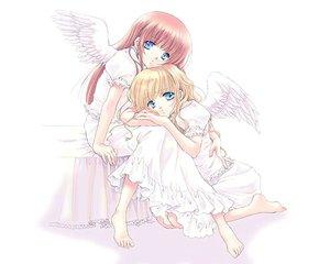 Rating: Safe Score: 9 Tags: angel barefoot blonde_hair blue_eyes dress pink_hair tagme white wings User: Oyashiro-sama