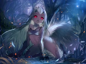 Rating: Safe Score: 133 Tags: anthropomorphism fang forest fuyouchu horns loli long_hair monster_hunter monster_hunter:_world red_eyes third-party_edit tobi-kadachi tree white_hair User: SexyNarumeia