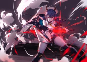 Rating: Safe Score: 60 Tags: arknights blue_hair boots ch'en_(arknights) horns long_hair red_eyes shorts sword tail twintails weapon yumuto User: Nepcoheart