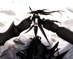 Rating: Safe Score: 108 Tags: armor black_hair black_rock_shooter boots chain gun insane_black_rock_shooter jpeg_artifacts kuroi_mato long_hair purple_eyes sword twintails weapon User: Katsumi