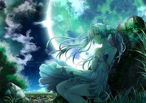 Rating: Safe Score: 33 Tags: blue_eyes clouds dress grass hatsune_miku mariwai_(marireroy) moon night stars vocaloid white_hair User: FormX