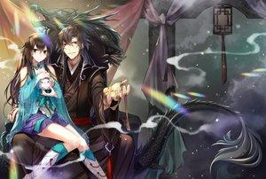 Rating: Safe Score: 29 Tags: black_hair blue_eyes boots braids jh long_hair male original red_eyes ribbons skirt User: RyuZU
