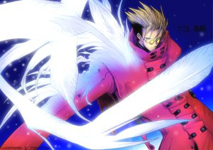Rating: Safe Score: 19 Tags: all_male blonde_hair green_eyes male short_hair sunglasses trigun vash_the_stampede wings User: Tensa
