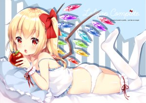 Rating: Questionable Score: 49 Tags: apple ass blonde_hair blush bow fang flandre_scarlet food fruit irori loli panties ponytail red_eyes thighhighs touhou underwear vampire wings wristwear User: RyuZU