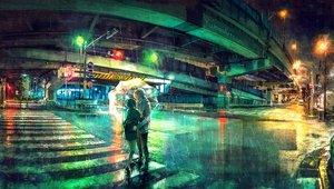 Rating: Safe Score: 139 Tags: aliasing building city long_hair male original rain scenic short_hair skirt umbrella water wenqing_yan_(yuumei_art) User: RyuZU