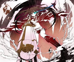 Rating: Safe Score: 135 Tags: black_rock_shooter blue_eyes gun kuroi_mato tetsu_(countryside) twintails weapon User: HawthorneKitty