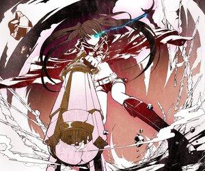 Rating: Safe Score: 180 Tags: black_rock_shooter blue_eyes gun kuroi_mato machimura_komori twintails weapon User: HawthorneKitty