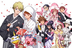 Rating: Safe Score: 48 Tags: aqua_eyes black_hair blonde_hair blush bow breasts brown_eyes brown_hair cleavage digimon eclosion elbow_gloves flowers glasses gloves hat headdress hoodie japanese_clothes kimono male necklace petals short_hair tagme_(character) tie wedding wedding_attire wink User: otaku_emmy