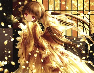 Rating: Safe Score: 111 Tags: brown_hair butterfly dress flowers long_hair petals red_eyes scan tinkle twintails User: kazuto