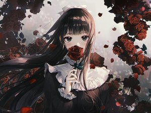 Rating: Safe Score: 110 Tags: black_eyes black_hair bow close daby flowers gothic long_hair original rose User: BattlequeenYume