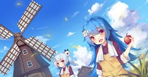 Rating: Safe Score: 36 Tags: 2girls akabane_(pixiv3586989) apple apron aqua_hair bili_bili_douga bili_girl_22 bili_girl_33 blush clouds food fruit long_hair ponytail red_eyes sky towel white_hair windmill User: luckyluna