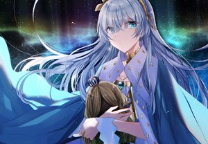 Rating: Safe Score: 38 Tags: anastasia_(fate/grand_order) aqua_eyes cape doll eburidei_hitomigokuu fate/grand_order fate_(series) gray_hair headband long_hair necklace night sky stars User: otaku_emmy
