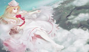 Rating: Safe Score: 75 Tags: blonde_hair cherry_blossoms clouds dress elbow_gloves flowers gloves hat jq lily_white pantyhose petals red_eyes touhou User: FormX