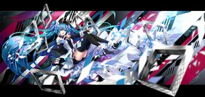 Rating: Safe Score: 58 Tags: blue_eyes blue_hair elbow_gloves gloves hatsune_miku long_hair microphone shorts signed thighhighs twintails tyouya vocaloid User: BattlequeenYume