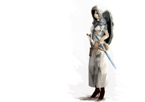 Rating: Safe Score: 66 Tags: 1ji45fun armor black_hair boots original sword weapon white User: noitis
