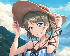 Rating: Safe Score: 109 Tags: aqua_eyes blush brown_hair close clouds cropped hat love_live!_school_idol_project love_live!_sunshine!! necklace shamakho short_hair sky watanabe_you User: RyuZU