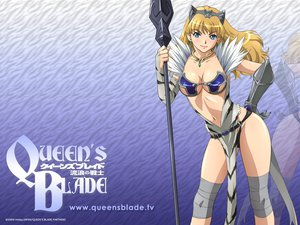 Rating: Questionable Score: 91 Tags: blonde_hair blue_eyes breasts cleavage elina navel queen's_blade spear weapon User: pantu