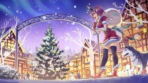 Rating: Safe Score: 34 Tags: anbe_yoshirou boots brown_eyes brown_hair christmas dress elbow_gloves gloves group original santa_costume short_hair signed snow snowman thighhighs tree zettai_ryouiki User: RyuZU